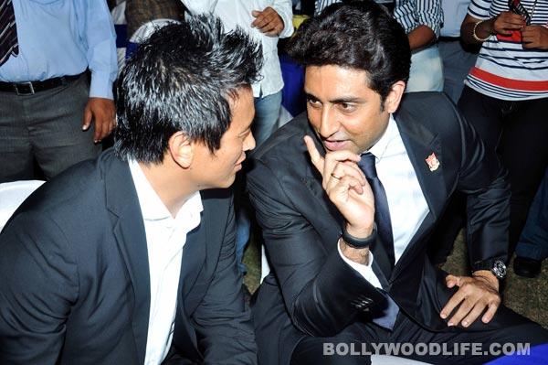 Abhishek Bachchan and Bhaichung Bhutia at the Indian Football Awards 2013