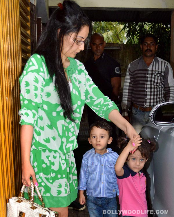 Manyata Dutt and kids spotted at the special screening of Policegiri