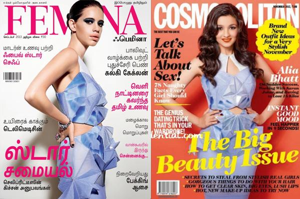 Kalki Koechlin or Alia Bhatt: Which cover girl sizzles more in the Alpana & Neeraj dress?