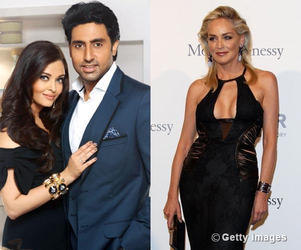 Why are Aishwarya Rai Bachchan and Abhishek Bachchan meeting Sharon Stone in Mumbai?