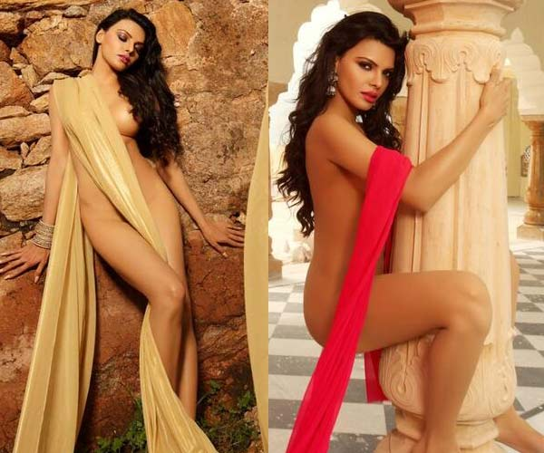 Is Sherlyn Chopra trying to wear a saree?