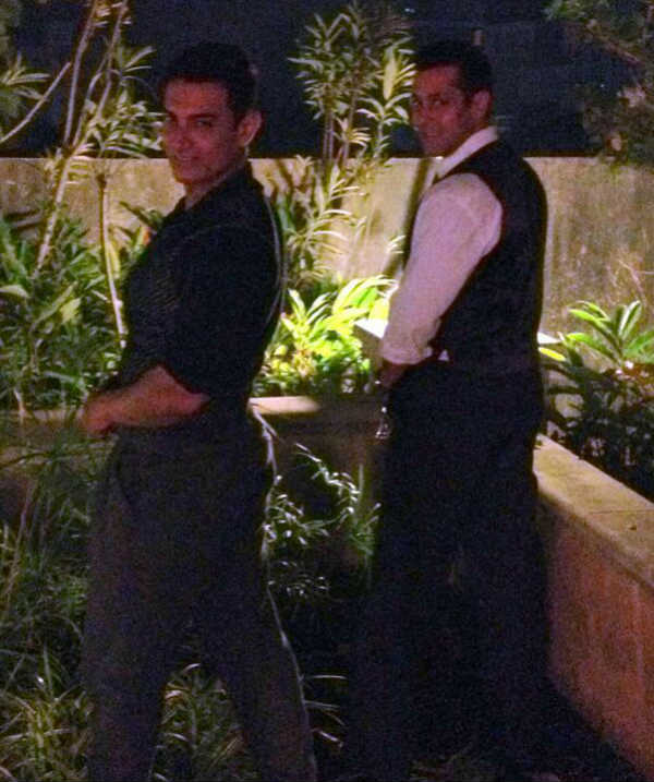 Salman Khan and Aamir Khan caught peeing in the garden! View pic!