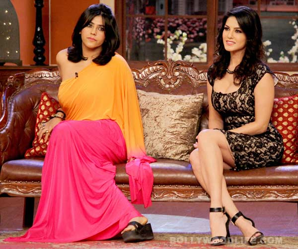 What is Sunny Leone doing on the couch with Ekta Kapoor?