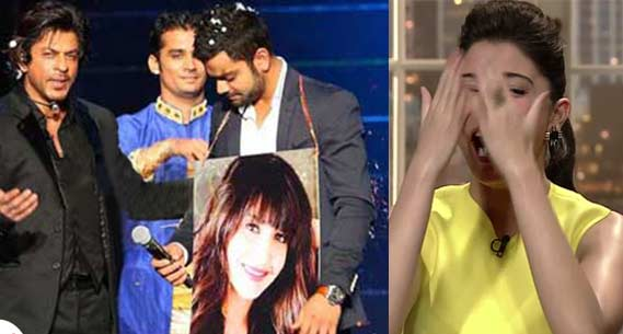 Shahrukh Khan reveals Virat Kohli and Anushka Sharma's love affair on IPL 7 opening ceremony stage! View pics