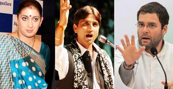 Will Smriti Irani be chosen over Rahul Gandhi and Kumar Vishwas in Amethi?
