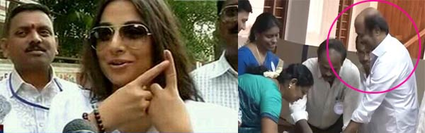 Vidya Balan and Rajinikanth – the first celebs to cast their votes