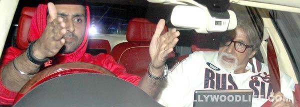 Amitabh Bachchan and Abhishek Bachchan's night out!