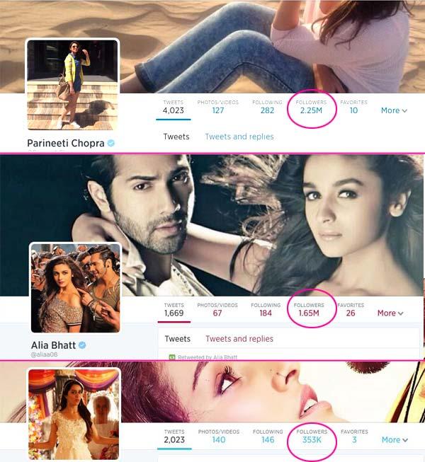 Parineeti Chopra ahead of Alia Bhatt and Shraddha Kapoor on Twitter!