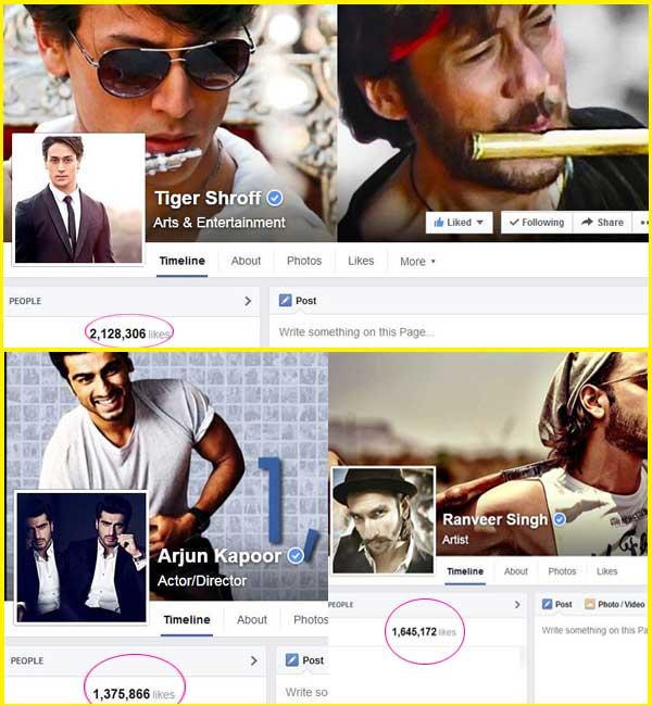 Tiger Shroff more popular than Ranveer Singh and Arjun Kapoor on Facebook!