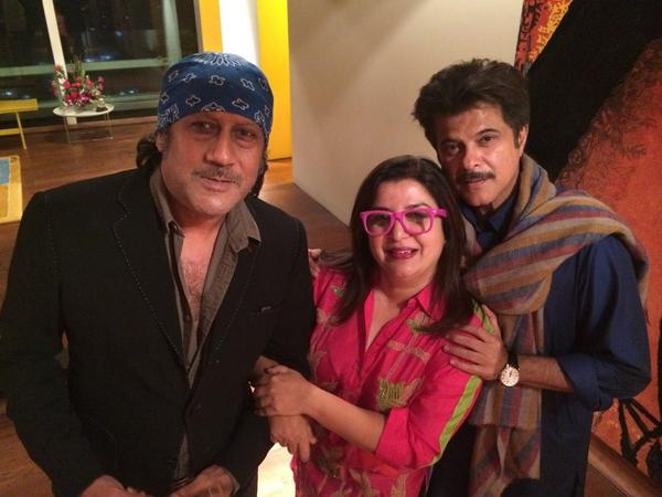 Farah Khan poses with Anil Kapoor and Jackie Shroff-view pic!