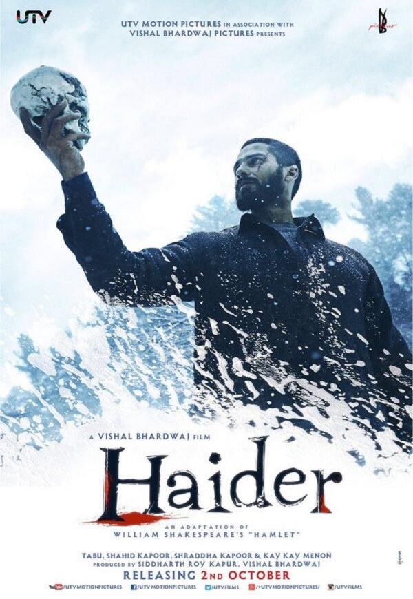 Why is Shahid Kapoor holding a skull in Haider's poster?