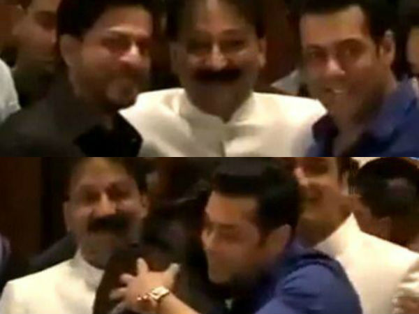 Salman Khan and Shah Rukh Khan hug again at Baba Siddique's Iftar party!