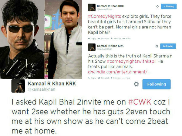 Kamaal  R Khan and Kapil Sharma's war takes a bitter turn