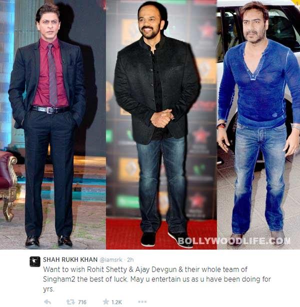 Shah Rukh Khan wishes Ajay Devgn and Rohit Shetty good luck for Singham Returns