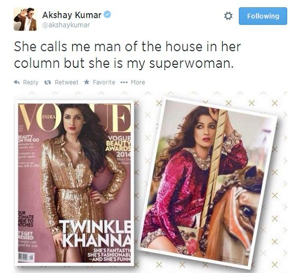 Akshay Kumar thinks of Twinkle Khanna as his superwoman!