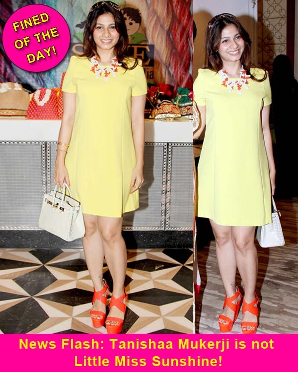 Fined of the day: Tanishaa Mukerji's orange and yellow mix gives us the blues!