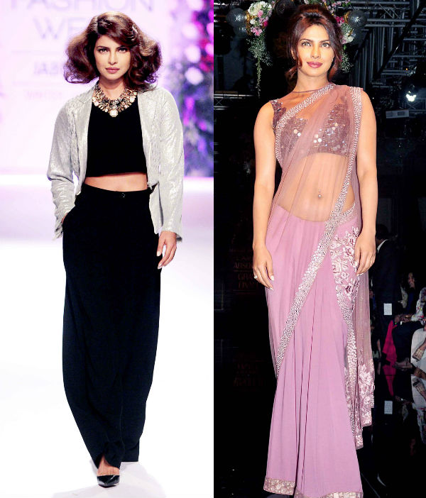 Priyanka Chopra in a Manish Malhotra saree or in Varun Bahl pants and crop-top- Vote for your favourite look!