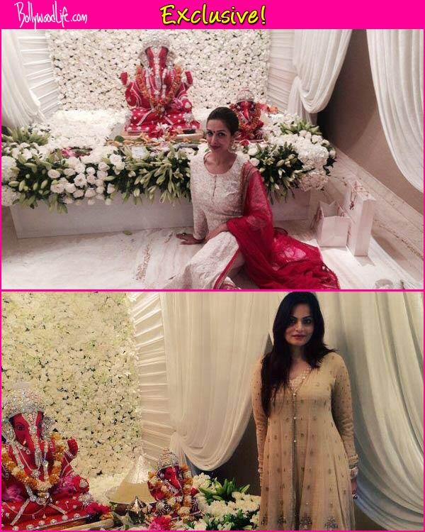 Ganesh Festival 2014: Malaika Arora Khan and Alvira Khan sport stunning outfits from collection of Ahakzai at Salman Khan's Ganpati celebrations-view pic!