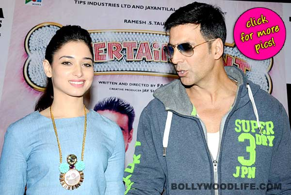 Akshay Kumar and Tamannaah Bhatia at the promotional press meet of Entertainment-view pics!