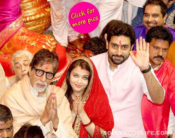Ganesh Festival 2014: Amitabh Bachchan, Abhishek Bachchan and Aishwarya Rai Bachchan seek blessings from Lalbaugcha Raja!