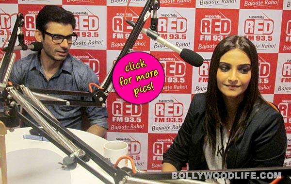 Sonam Kapoor and Fawad Khan promote Khoobsurat at a radio show- View pics!