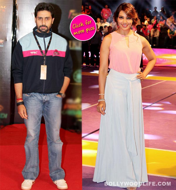 Bipasha Basu supports Abhishek Bachchan at Pro Kabbadi semi final match!