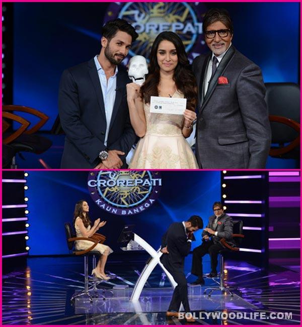 Kaun Banega Crorepati 7: Shahid Kapoor and Shraddha Kapoor strike a pose with Amitabh Bachchan