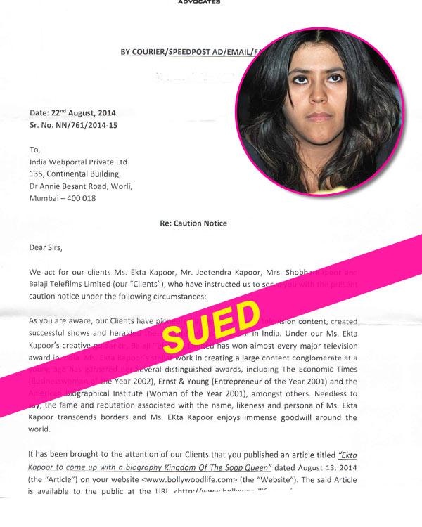 Ekta Kapoor sues BollywoodLife!