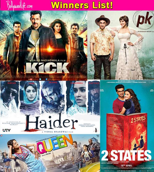 Life OK Screen Awards winners list: Queen, Kick, Haider, Mardaani, 2 States, PK, Heropanti win big!