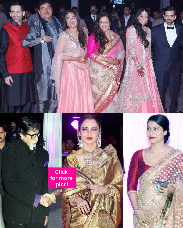 Amitabh Bachchan Rekha Kajol And Rajinikanth Attend Sonakshi