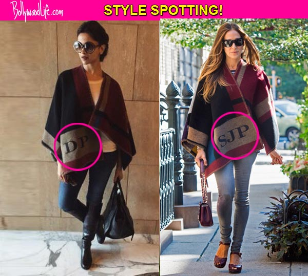 Deepika Padukone apes Sarah Jessica Parker, wears Burberry poncho with her initials on it- view pic!