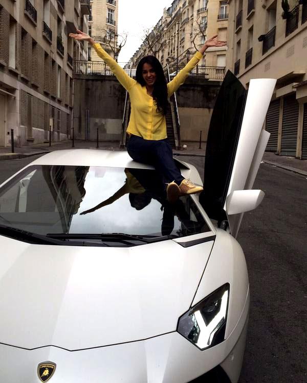 Have you seen Mallika Sherawat's sexy new white Lamborghini? View pic!