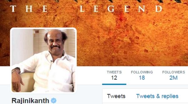 Superstar Rajinikanth crosses 2 million followers on Twitter!