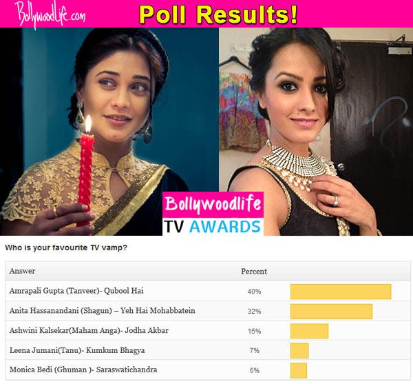 BollywoodLife TV Awards 2015: Qubool Hai's Amrapali Gupta beats Yeh Hai Mohabbatein's Anita Hassanandani to become your favourite vamp on TV!