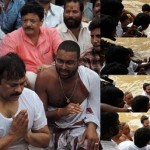 Chiranjeevi takes a holy dip in Godavari at the Maha Pushkaralu festival – view pic!