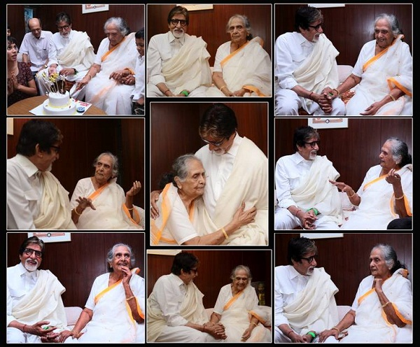 Amitabh Bachchan meets onscreen mother Sulochana Latkar to wish her on 86th birthday – view pic!