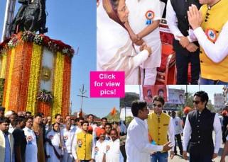 Ssharad Malhotra meets ex-President of India Pratibha Patil at inauguration of Maharana Pratap statue in Jalgaon