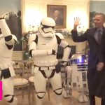 Barack Obama and Michelle Obama celebrate Star Wars Day by dancing to Uptown Funk with R2D2 and storm troopers!