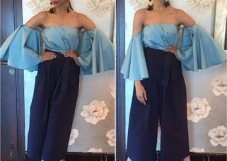 How lovely does Deepika Padukone look in the blue separates? Infinite amount!