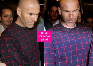 Real Madrid manager Zinedine Zidane arrives in Mumbai with wife and is welcomed by a swarm of fans – view HQ pics!