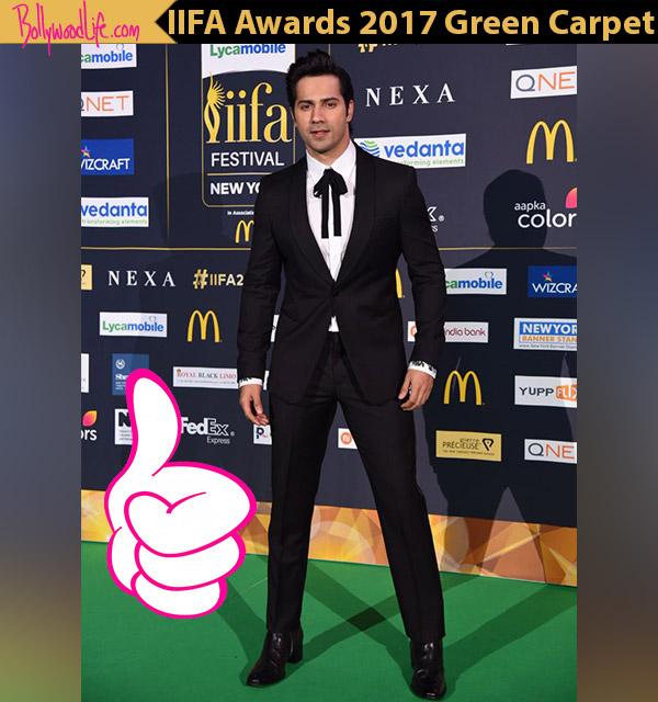 Varun Dhawan pulls off a tuxedo but with a dapper twist at the IIFA Awards 2017 green carpet- View Pics