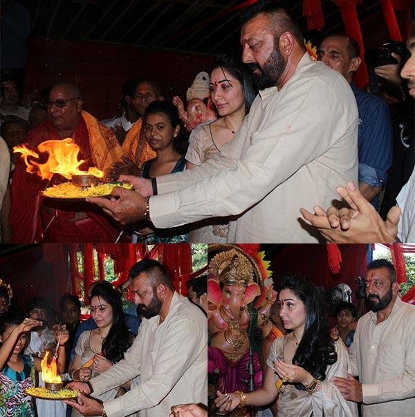 sanjay dutt wife manyata dutt ganpati aarti see photos