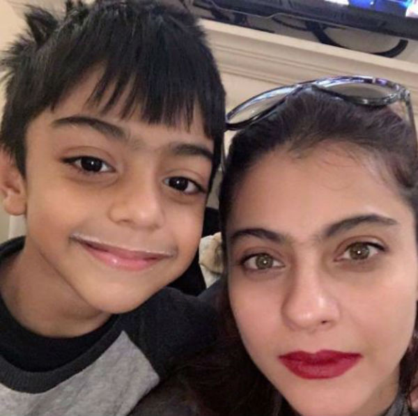 Even you would want to get a milk moustache after looking at this pic of Kajol with her son Yug!