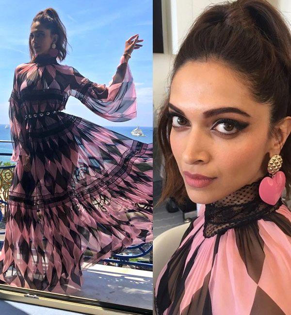 Cannes 2018: Deepika Padukone's pink and black maxi dress ...