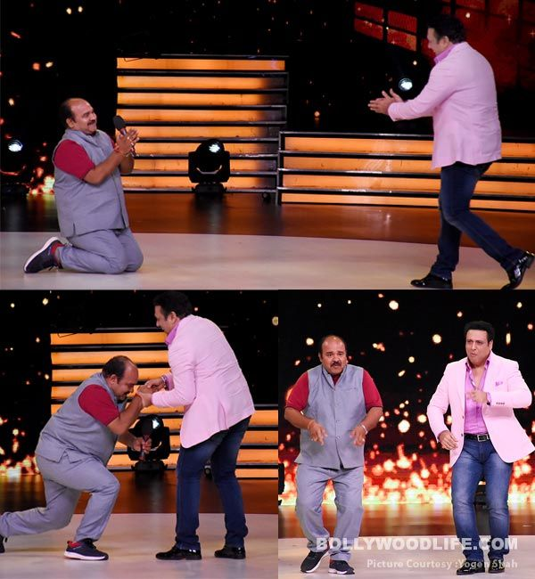 [View HQ pics] Viral sensation Sanjeev Shrivastav goes down on his knees after meeting his idol Govinda on Dance Deewane