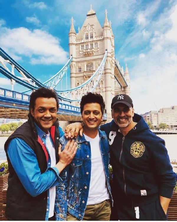 Image result for latest images of akshay kumar bobby deol and riteish deshmukh in london