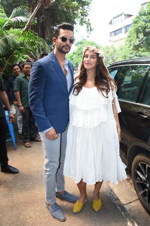 A Glowing Neha Dhupia Sporting A Floral Crown Arrives With