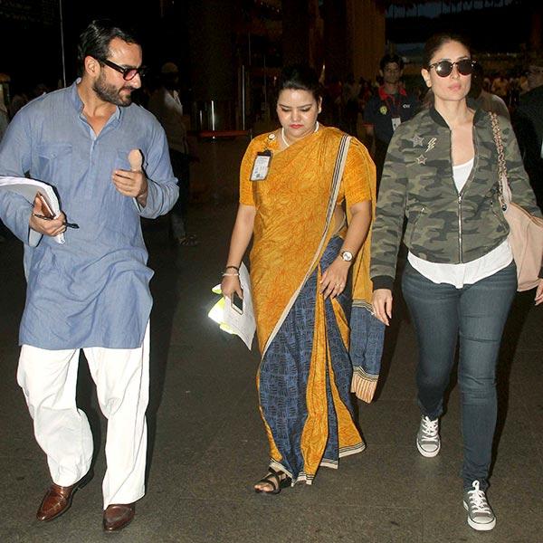 Kareena Kapoor Khan With Husband Saif Ali At Airport