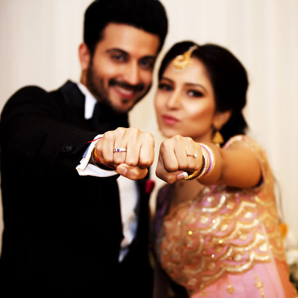 Dheeraj Dhoopar and Viny Arora: showing engagement rings