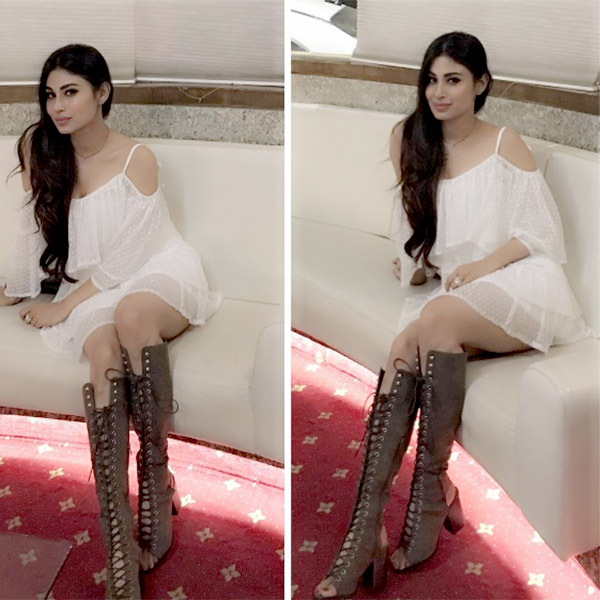mouni roy rocking the thigh high boots in a party